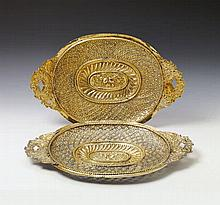 A pair of large Leipzig silver gilt sideboard dishes. Marks of Johann Paul Schmidt, ca. 1690.