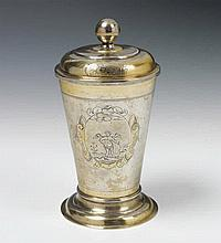 A Liegnitz silver partially gilt beaker and cover. Marks of Johann Ludwig Meissner, early 18th C.
