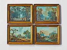 Four small, French landscapes in the manner of Jean Baptiste Pillement.