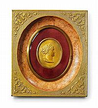 A French gilt bronze medallion portrait of Empress Marie Louise by Eugène Morel.