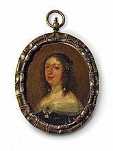 A portrait of a baroque lady in pearls by a Netherlandish or English master.
