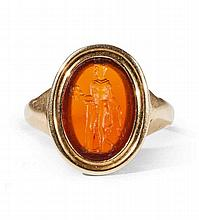 A George III 18k gold ring with an Imperial Roman intaglio.