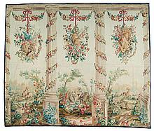 An Aubusson wool and silk tapestry with a courtly garden scene.