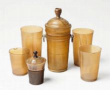A set of six German horn and metal beakers.