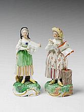 Two Frankenthal porcelain allegorical figures.