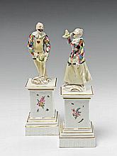 A rare pair of Frankenthal porcelain figures of Hanswurst and Columbine.