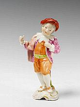 A rare Frankenthal figure of a young harlequin.