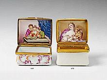 An Italian gilt copper mounted porcelain snuff box.