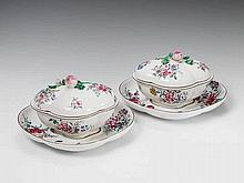 A rare pair of Strasbourg faience tureens and platters with floral overglaze decor.