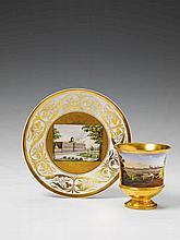 A Munich porcelain boullion bowl and saucer.
