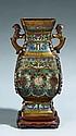 Large champlevé enamel vase. 19th century