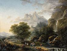 Claude Louis Chatelet, A Mountainous Landscape with a Lake and AnglersA Mountainous Landscape with a Waterfall