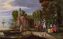 Flemish School 17th century, A Coastal Landscape with a Palace and Elegant Company