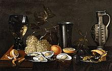 Netherlandish School 17th century, Still Life with a Rummer, Pitcher, Grapes, Lemon and Oysters