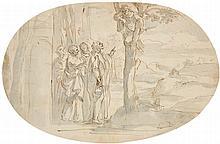Jan Luyken, Christ and Three Apostles Meet Zacchaeus