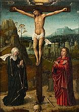 Bruges School ca. 1510/20, Christ on the Cross with the Virgin and Saint John