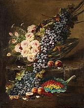 Modeste Carlier, Still Life with Roses and Grapes in a Basket, Peaches and Currants