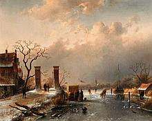 Charles Leickert, A Village Landscape with Skaters
