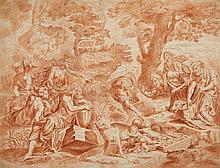 French School 17th - 18th centuries, Faustulus and the Shepherds Driving off the Wolf who Suckled Romulus and Remus