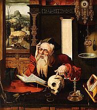 German School 16th century, Saint Jerome in his Study