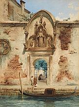 Franz Heinrich, A View of Venice with a Gateway and a Gondola