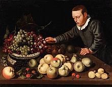 Floris van Schooten, A Fruit Still Life with a Boy