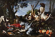 Franz Werner von Tamm, A Hunting Still Life with Powder Bag