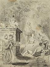 Jean-Baptiste Leprince, in the manner of, A Courtship Scene with Pierrot