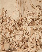 Italian School 18th century, Mucius Scaevola and the Etruscan King