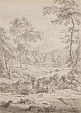 Jan van Huysum, Jan van Huysum, An Arcadian Landscape with a Couple and a Dog