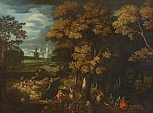 Flemish School 17th century, A Park Landscape with Courtly Figures
