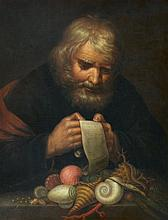 Flemish School 2nd half 17th century, A Gentleman Reading with a Shell Still Life