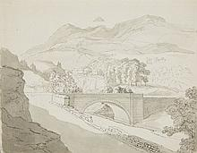 German Master 19th century, Southern Landscape with a Bridge