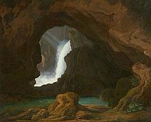 German School 19th century, The Cave by the Waterfall