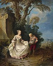 German School mid 18th century, A Courtship in the Park