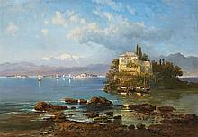 Pieter Francis Peters, View of the Lago Maggiore with the Island of San Giovanni