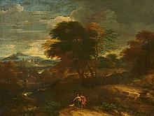 Netherlandish School 17th century, Panoramic Landscape with Shepherds and a Dog