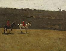 August Neven Du Mont, A Landscape with Horsemen