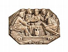 A Flemish alabaster relief of the Marriage at Cana, circa 1600.