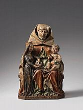A late 15th century Swabian carved wooden Anna Selbdritt group.