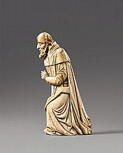 A late 14th century Northern Italian carved ivory figure of Saint Joseph.