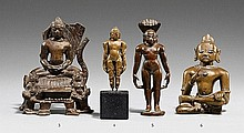 A small South Indian brass figure of Gomateshvara. 16th century or later