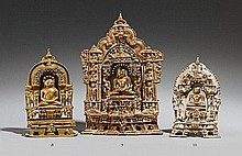 A Rajasthani or Gujarat brass Jain altarpiece. 16th/17th century