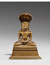 A Gujarat brass figure of Parshvanatha. Dated 1637