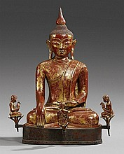 A Burma lacquered and gilded bronze figure of Buddha Shakyamuni. 18th/19th century