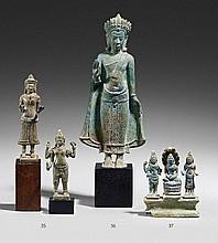 A Lopburi style bronze figure of deity