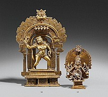 A Karnataka brass figure of Durga. 18th century