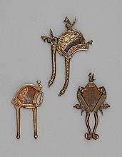 Three brass/bronze Maharashtra betel cutters. 19th century