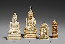 A Mandalay ivory figure of Buddha Shakyamuni. Late 19th century