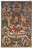 A Tibetan thangka of Vaishravana. Gouache on cloth. 18th/19th century